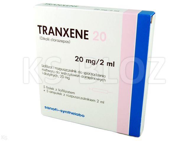 Tranxene 20 interakcje ulotka proszek i rozpuszczalnik do sporządzania roztworu do wstrzykiwań 0,02 g/2ml 5 fiol. | + 5rozp. 2ml