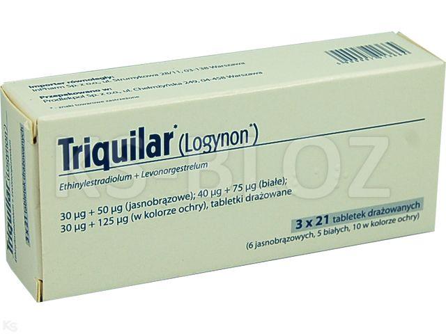 Triquilar interakcje ulotka tabletki drażowane 0,03mg+0,05mg+0,04mg+0,075mg+0,03mg+0,125mg 63 tabl.