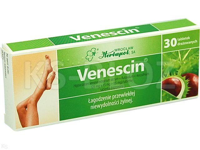 Venescin interakcje ulotka tabletki drażowane 0,025g+0,015g+0,5mg 30 tabl.
