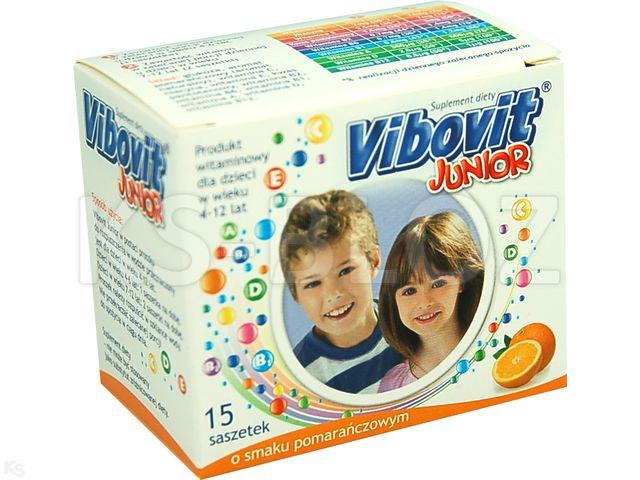 Vibovit Junior pomarańcz. interakcje ulotka proszek do sporządzania roztworu 2 g 15 sasz.