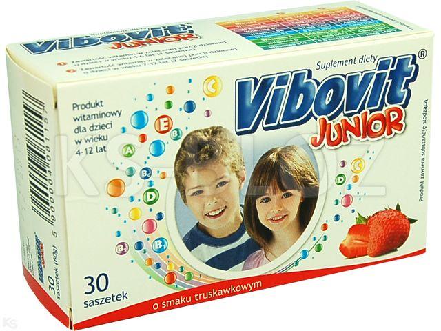Vibovit Junior truskawkowy interakcje ulotka proszek do sporządzania roztworu  30 sasz.