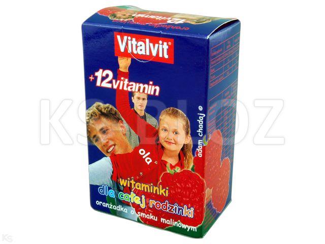 VITALVIT+12 vitamin oranż. o sm.malin. interakcje ulotka proszek  7 sasz. po 10 g