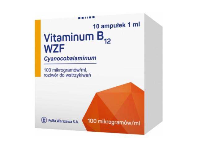 Vitaminum B 12 WZF interakcje ulotka roztwór do wstrzykiwań 0,1 mg/ml 10 amp. po 1 ml
