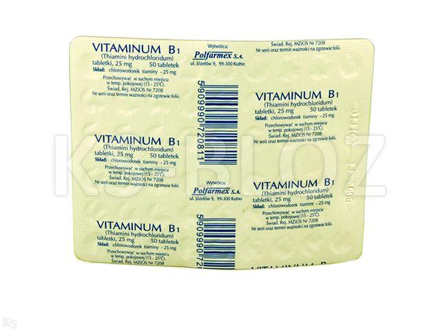 Vitaminum B1 Polfarmex interakcje ulotka tabletki 0,025 g 50 tabl.