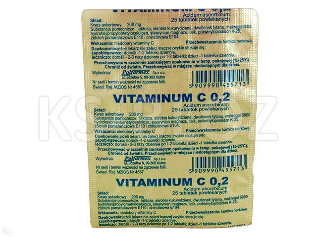 Vitaminum C Polfarmex interakcje ulotka tabletki powlekane 0,2 g 25 tabl.