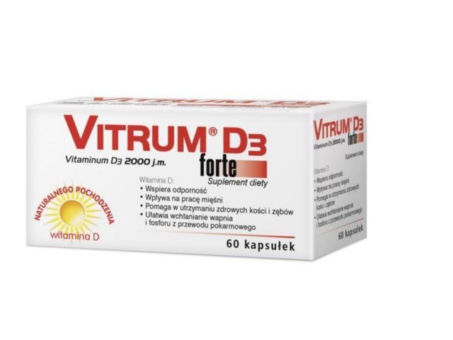 Vitrum D3 Forte interakcje ulotka kapsułki  60 kaps.