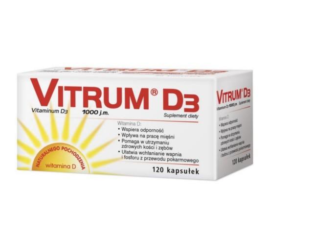 Vitrum D3 interakcje ulotka kapsułki 0,025 mg D3 1000 j.m. 120 kaps.