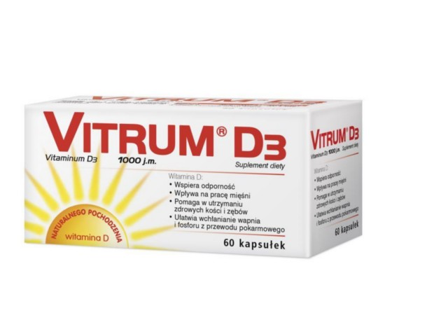 Vitrum D3 interakcje ulotka kapsułki 0,025 mg D3 1000 j.m. 60 kaps.
