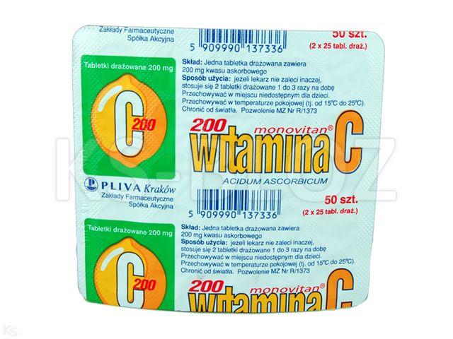 Witamina C monovitan interakcje ulotka tabletki drażowane 0,2 g 50 tabl.