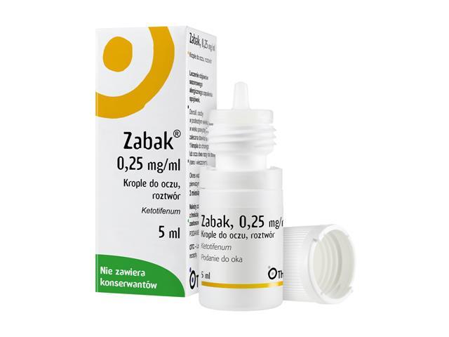 Zabak interakcje ulotka krople do oczu, roztwór 0,25 mg/ml 5 ml | butelka