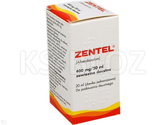 Zentel interakcje ulotka zawiesina doustna 0,4 g/20ml 20 ml