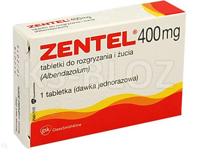 Zentel interakcje ulotka tabletki do rozgryzania i żucia 0,4 g 1 tabl.
