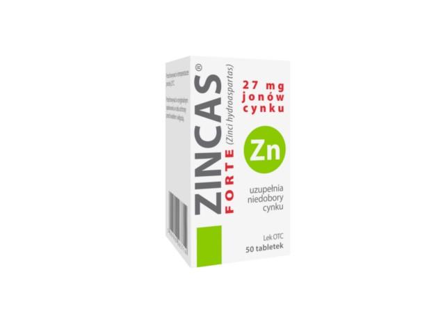 Zincas forte interakcje ulotka tabletki 0,027 g Zn2+ (0,15 g) 50 tabl.