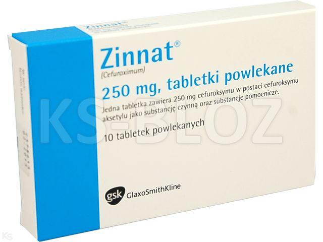Zinnat interakcje ulotka tabletki powlekane 0,25 g 10 tabl.