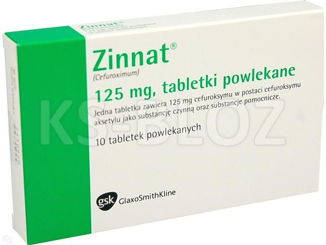 Zinnat interakcje ulotka tabletki powlekane 0,125 g 10 tabl.