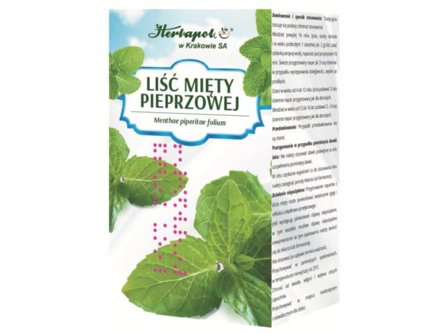 Zioł.fix Liść Mięty pieprzowej interakcje ulotka zioła do zaparzania w saszetkach 2 g 25 toreb.