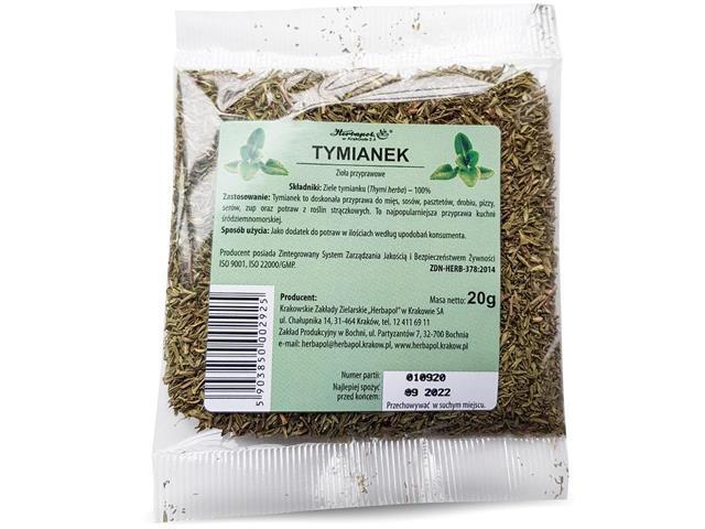 Zioł.Ziele Tymianku interakcje ulotka zioła do zaparzania  20 g