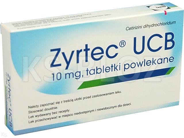 Zyrtec UCB interakcje ulotka tabletki powlekane 0,01 g 7 tabl.
